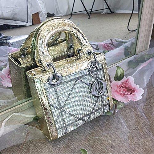 CJshop Princesa Bao Dai mininew Hembra Mini Bolsa Bolso con Cadena de Diamante Diamante Bolso Bolso,Elegante Negro de Alta Calidad Mini 17cm Dorado champán trompeta de alta calidad 19cm