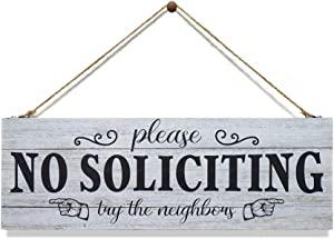 Kas Home No Soliciting Sign for House - Funny Rustic Canvas Wall Art for Door Office Yard Decoration Modern Design Wooden Decor, 5.5 x 16.5 Inches Plaque Big Letters (5.5 X 16.5 inch,NO-SOLICITING-01)