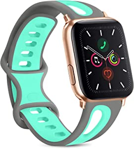 Vancle Silicone Bands Compatible with Apple Watch Band 38mm 40mm 42mm 44mm, Soft Breathable Silicone Replacement Band for iWatch Series 6 5 4 3 2 1 SE (Grey/Teal, 38mm/40mm S/M)
