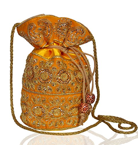 Sequin With Embroidery amp; Intricate Clutch Gold Drawstring Women Potli Thread For Purse Bag Work Purpledip Yellow RqU4fn