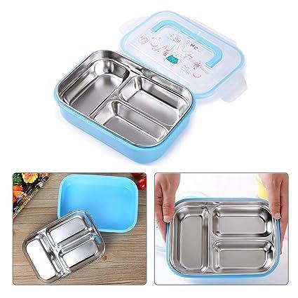 bento box,Caja de almuerzo Bento de acero inoxidable para niños adultos, Contenedor de almacenamiento de alimentos a prueba de fugas, 3 porciones de ...