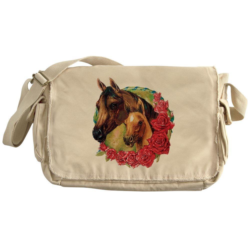 Royal Lion Khaki Messenger Bag Horses and Roses