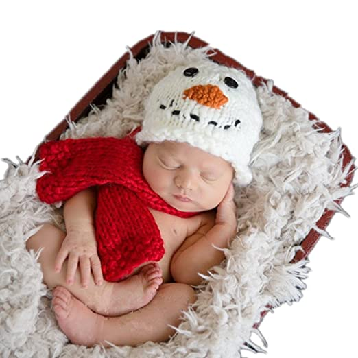 Christmas Newborn Baby Photo Shoot Props Outfits Boy Girl Crochet Costume Fashion Unisex Infant Snowman Hat