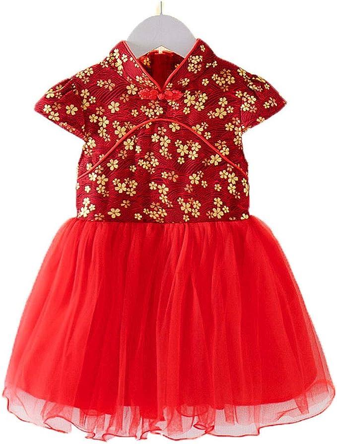 Wide.ling Disfraz de Princesa China Tradicional de Qipao con tutú ...