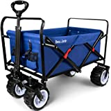 BEAU JARDIN Folding Wagon Cart 300 Pound Capacity Collapsible Utility Camping Grocery Canvas Sturdy Portable Rolling Lightwei