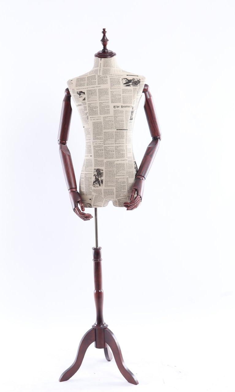 Zeitung Muster stoffbezogene Oberk/örper mit Deckel aus Holz,Arme und Finger Eurohandisplay A14-0 Schneiderpuppe