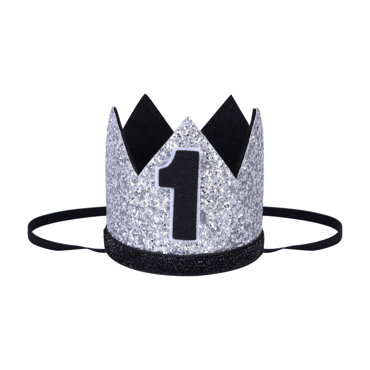 TiaoBug Infant Baby Boys Girls Shiny First Birthday Party Hat Crown Sparkly Elastic Headband Photo Props Silver&Black 1 One Size