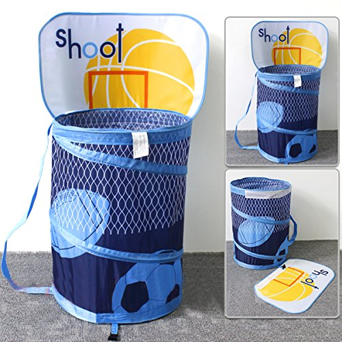 (Ao blare 14X19Inch Basketball Hoop Toy Bucket Laundry Basket Clothes Hamper Toys Basket Storage Bucket Folding Cylinder Laundry Basket Toy Box Organizer Storage)
