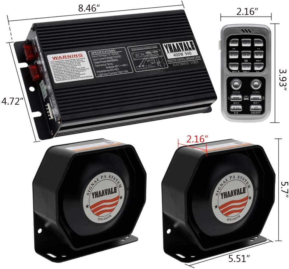 YHAAVALE Car Police Siren 400W Signal Division PA System 940 ...