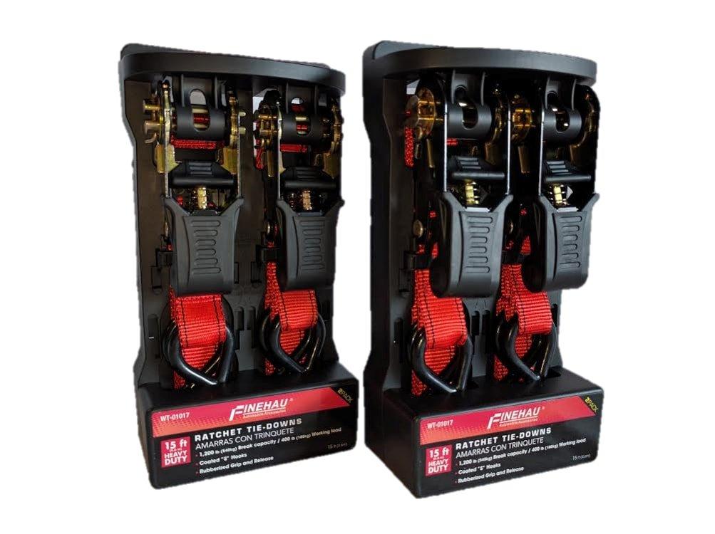Finehau Ratchet Tie Down - Red - 4 pk - 1'' X 15' - S Hook - 400 Lbs Load Cap - 1200 Lb Break strength