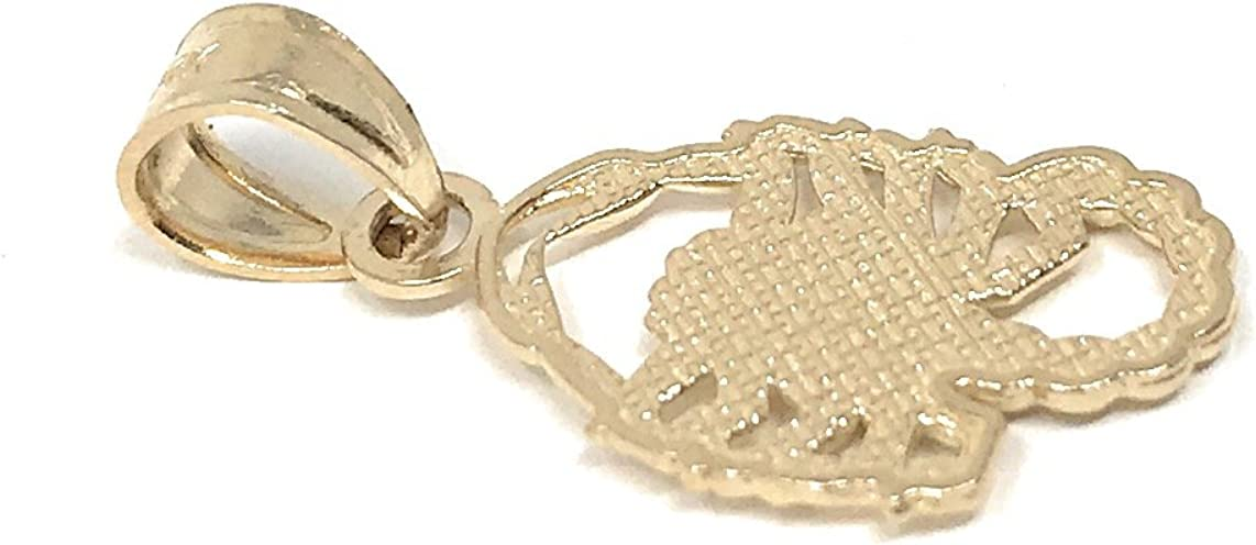 14K Yellow Gold Scorpion Charm Pendant with 0.8mm Box Chain Necklace