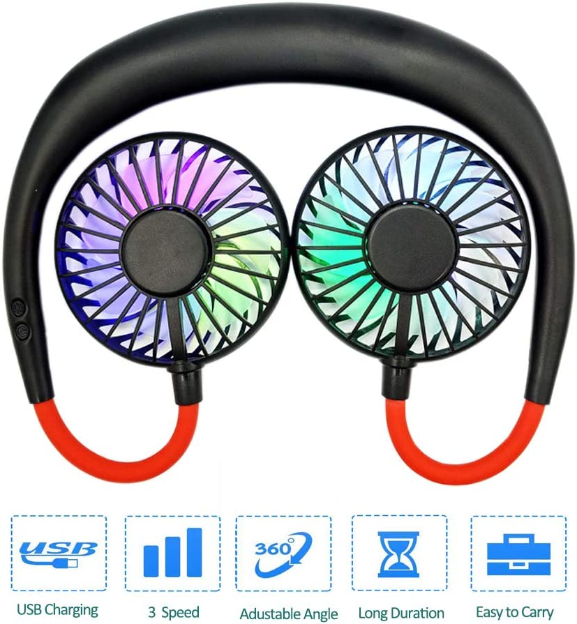 Hand Free Personal Fan – Portable USB Rechargeable Fan – Headphone Design Wearable Neckband Fan – 3 Speed Adjustable, 360 Degrees Free Rotation Perfect for Home Office Room Outdoor Travel Black