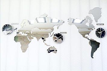 Amazon diy acrylic mirror world map clock wall clock living diy acrylic mirror world map clock wall clock living room mute clock gumiabroncs Image collections