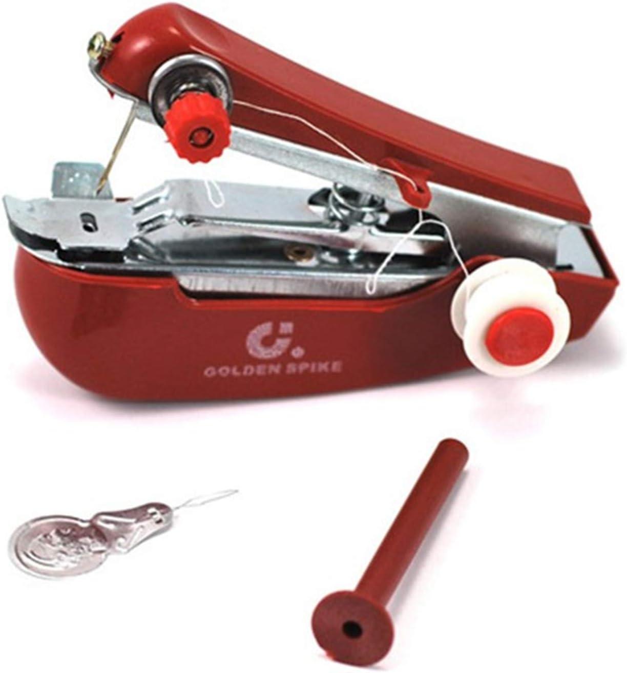 Telas de la ropa de la puntada de costura Máquina manual de su viaje o para el hogar portátil Mini Máquina de coser Handheld de Mano