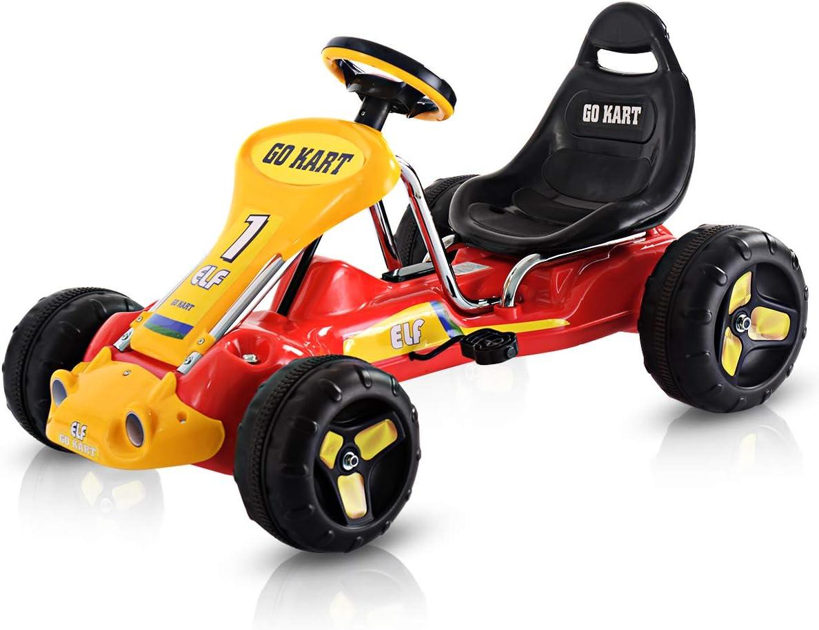 """Costzon gehen Kart, 4 Wheel Ride auf Car, Pedal Powered Ride auf Toys für Boys & Girls mit Adjustable Seat, Pedal Cart für Kids 37""""&Times; 24.8""""&Times; 20.1"""" (Red)"""
