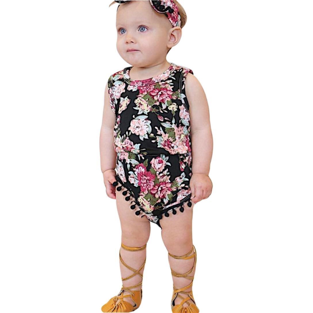 Pagliaccetto , Beauty Top Bambino Neonato Pagliaccetto Ragazze Ragazzi Senza Maniche Pigiama Romper Tuta Pagliaccetto floreale+Fascia Jumpsuit Outfits Set di vestiti