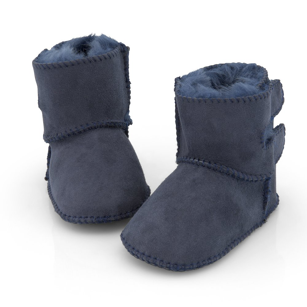 Sheepskin baby booties blue with adjustable velcro 2-Velcro (100% Genuine Merino Sheepskin)