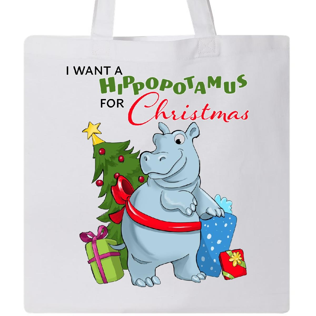 Amazon.com: Inktastic I Want a Hippopotamus for Christmas Tote Bag ...