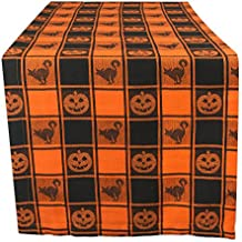DII 14x72 Cotton Table Runner, Black & Orange Check Plaid with Cat & Jack O' Lantern - Perfect for Halloween, Dinner Parties and Scary Movie Nights