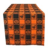 DII 14x72'' Cotton Table Runner, Black & Orange Check Plaid with Cat & Jack O' Lantern - Perfect for Halloween, Dinner Parties and Scary Movie Nights