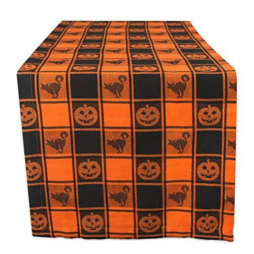 DII 14x72 Cotton Table Runner, Black & Orange Check Plaid with Cat & Jack O' Lantern - Perfect for Halloween, Dinner Parties and Scary Movie (Halloween Jack O Lantern Cat)