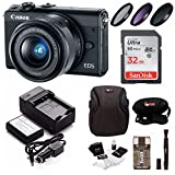 Canon EOS M100 Mirrorless Digital Camera EF-M 15-45mm lens (Black) + 32GB Memory Card + Filter Kit + Bundle