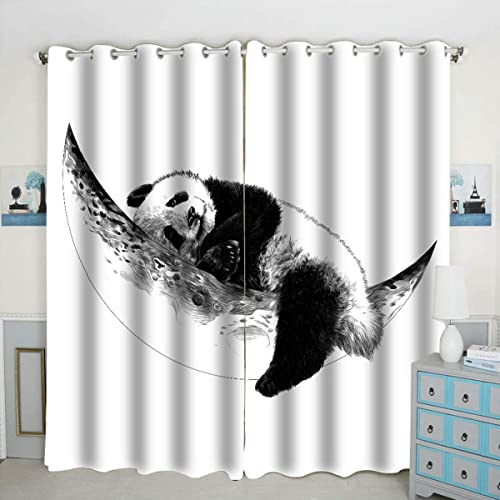 Cheap Sleeping Panda Theme Window Curtain Panels Blackout Curtain Panels Thermal Insulated Light Blocking 42W x 84L inch Set of 2 Panels window curtain panel for sale