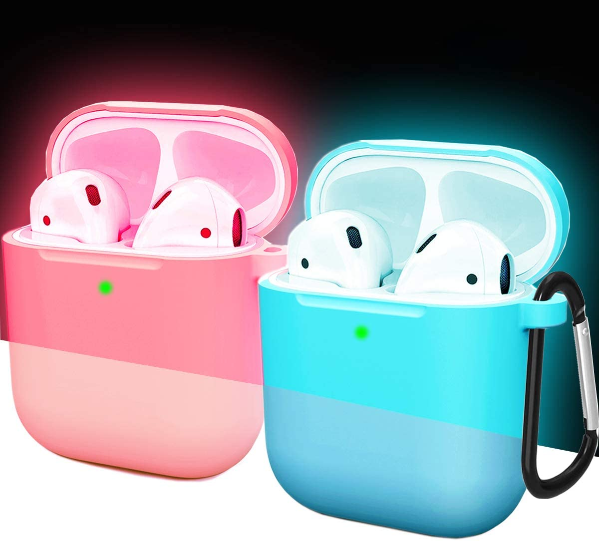Compatible AirPods Case Cover Silicone Protective Skin for Apple Airpod Case 2&1 (2 Pack) Nightglow Pink/ Nightglow Blue