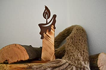 Unbekannt Holzkerze Metall Holz Rost Edelrost Holzfigur Rostfigur