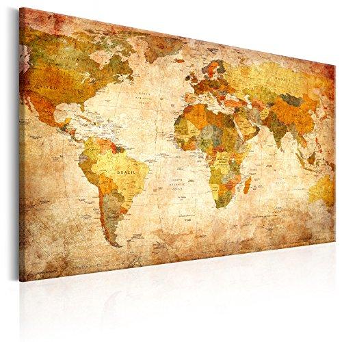 Murando Weltkarte Pinnwand Vlies Leinwandbild 90x60 Cm 1