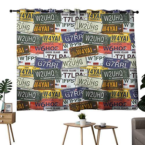 bybyhome USA Grommets Family Darkening Curtains Retro American Auto License Plates Utah Washington Rhode Island North Carolina Print Curtain Decoration Multicolor W63 x L72