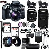 Canon Rebel T6 Camera 18-55mm Lens Canon EF-S 75-300mm Lens, 2 Memory Cards, 2 Batteries, Battery Grip Combo Kit