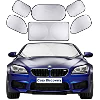 Car Windshield Sun Shades 6-in-1 Cover Set, Includes 1 Front Window Sunshade Cover (150x70 cm) & 1 Rear Windshield Shade…