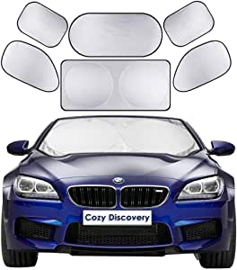 Car Windshield Sun Shades 6-in-1 Cover Set, Includes 1 Front Window Sunshade Cover (150x70 cm) & 1 Rear Windshield Shade (100x50 cm) & 4 Side Windscreen Shades, Cover All Around to Keep Your Car Cool
