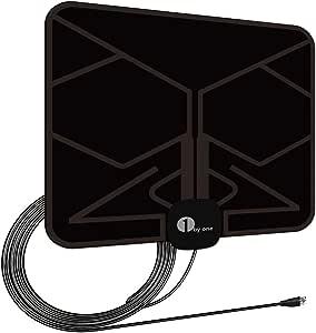 1byone Ultra plana antena TV TDT interior DVB-T DVB-T2, Mayor rango de recepción de 40 KM, con materiales de alta calidad, 4 metros de cables de alto rendimiento, duraderos y resistentes, Negro: