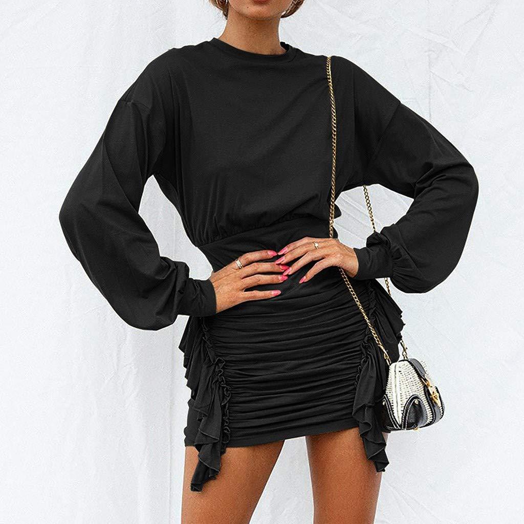 JERFER abbigliamento Mini Abito Aderente Aderente a Manica Lunga con Rouches a Vita Alta in Tinta Unita con Scollo a O Abiti Vestito Donna