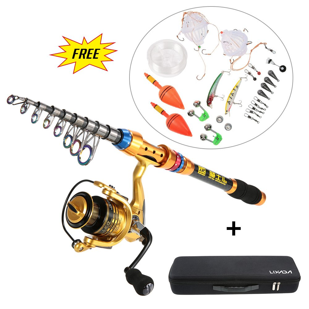 Fishing Rod /& Reel Kit Spinning Reel Gear Organizer Pole Set w// Fish Line Lures