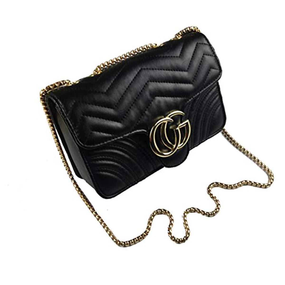 2018 Mini Ladies Women Girls Baby Linger Chain CG Lock Velvet PU Wave Retro Shoulder Bag Crossbody Bag Nappy Bag,Black(CGLetter-Leather)-22 * 8 * 15cm