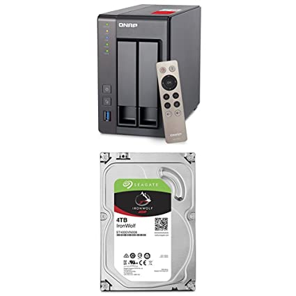 QNAP TS-251+ 2-Bay Next Gen Personal Cloud NAS + 2 Seagate 4TB IronWolf NAS  Internal Drives (ST4000VN008) Bundle
