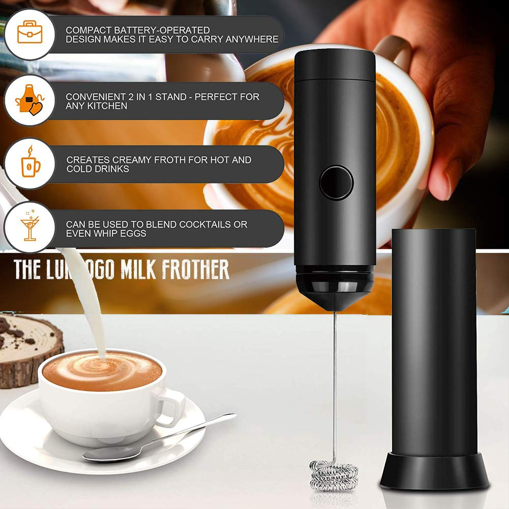 Stainless Handheld Electric Milk Frother Coffee Foamer Whisk Egg Mixer Blend