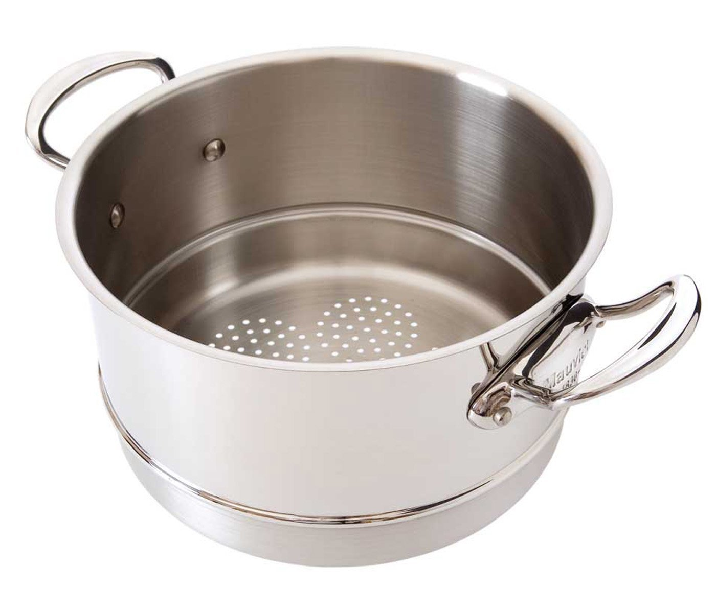 Mauviel Made In France M'Cook 5 Ply Stainless Steel 5221.24 9.5 Inch Steamer Insert, Cast Stainless Steel Handle