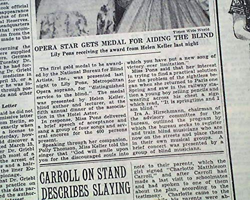 Amazon.com: HELEN KELLER Gives Gold Medal Award to Lily Pons Opera Star PHOTO 1938 Newspaper THE NEW YORK TIMES, May 26, 1938: Entertainment Collectibles