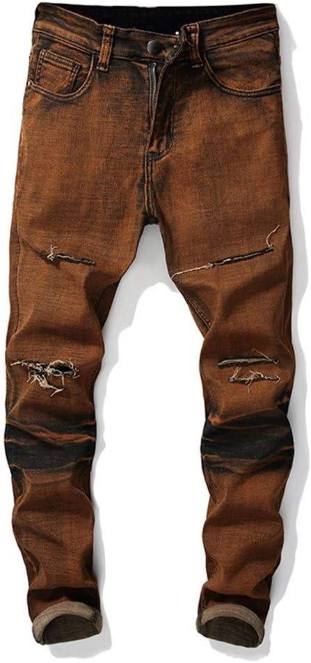 メンズジップワイドパンツ 冬の穴のジーンズの膝ストレートストレッチコットンの殻の穴ズボン エフェクトライトウォッシュ (Color : Dark Yellow, Size : S)