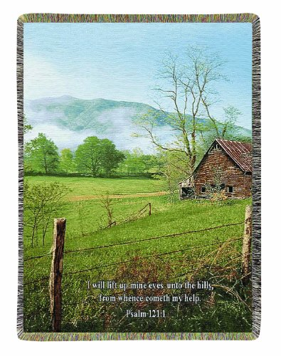 Scene Tapestry Throw - Manual Inspirational Collection Tapestry Throw with Verse, I Lift My Eyes, 50 X 60-Inch