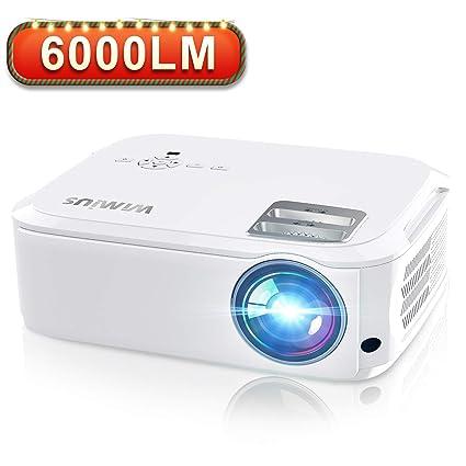 Proyector, WiMiUS 6000 Lúmenes Proyector Full HD 1920x1080P Nativo Proyector Cine en Casa Soporta 4K Pantalla 300
