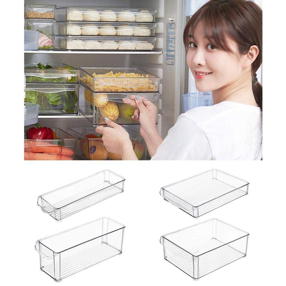 Transparent Stackable Plastic Refrigerator Storage Box Food Storage Bins with Handles-Organizer for Noodles Vegetable Fruit, Kitchen Storage Box iBaste