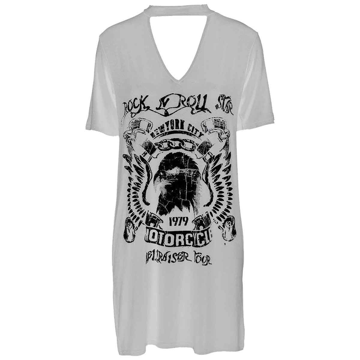 Fashion Essentials-Ladies Rock N Roll Star Motorcycle Printed Choker Neck T-Shirt  Dress at Amazon Women's Clothing store: