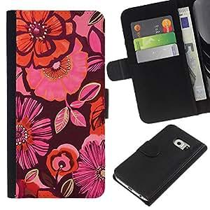 Samsung Galaxy S6 EDGE / SM-G925(NOT FOR S6!!!) Modelo colorido cuero carpeta tirón caso cubierta piel Holster Funda protección - Pattern Pink Fabric Dark Purple