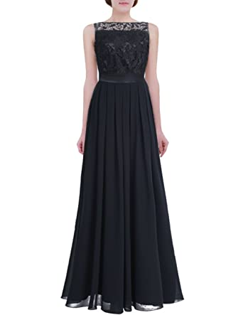 857f7519a45a iiniim Women's Vintage Elegant Floral Lace Sleeveless Evening Prom Ball Gown  Long Maxi Wedding Bridesmaid Dress