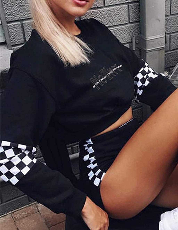 Teen Girlss Plaid Crop Hoodie Long Sleeve Sweatshirt Jacket Pullover Sweater Clearance Sale